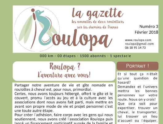 à 2 mois du départ, la Gazette Roulopa 2.0 en couleur est arrivée!